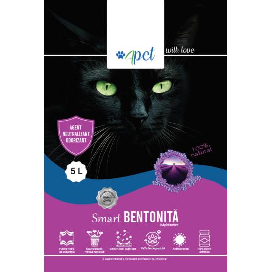 Nisip litiera pisici Bentonita Smart, LAVANDA, 4PET, 5L