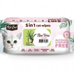 Servetele umede pentru pisici, KIT KAT, 5 in 1, Aloe Vera, 80 buc