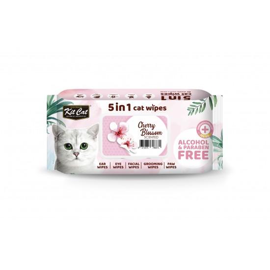 Servetele umede pentru pisici, KIT KAT, 5 in 1, floare de cires, 80 buc