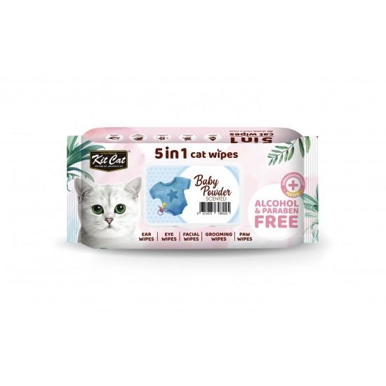 Servetele umede pentru pisici, KIT KAT, 5 in 1, Baby Powder, 80 buc