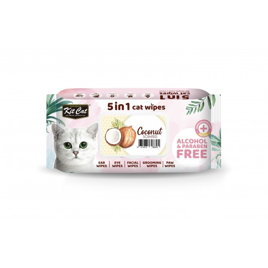 Servetele umede pentru pisici, KIT KAT, 5 in 1, Cocos, 80 buc
