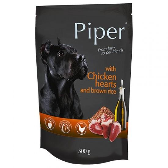 Hrana umeda pentru caini Piper Adult, Inimi de pui si Orez brun, 500 g