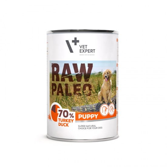 Hrana umeda pentru caini, PUPPY, RAW PALEO, carne de curcan si rata, 400 g