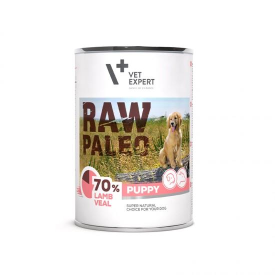 Hrana umeda pentrucaini, puppy, RAW PALEO, miel si vitel, 400 g