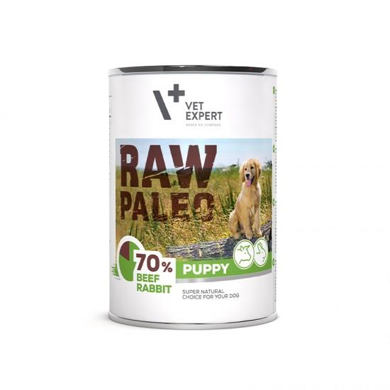 Hrana umeda pentru caini, puppy, RAW PALEO, carne de vita si iepure, 400 g