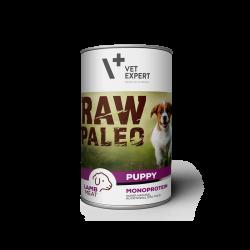 Hrana umeda pentru caini, RAW PALEO Puppy, conserva monoproteica, carne de miel 400 g