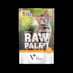 Hrana umeda pentru pisici, RAW PALEO KITTEN, carne de curcan, 100 g