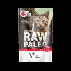 Hrana umeda pentru pisici, RAW PALEO CAT, STERILISED, carne de vita, 100 g