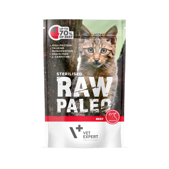 RAW PALEO CAT, STERILISED, vita, 100 g