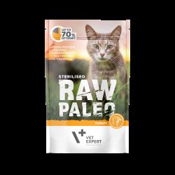 Hrana umeda pentru pisici, RAW PALEO CAT, STERILISED, carne de curcan, 100 g