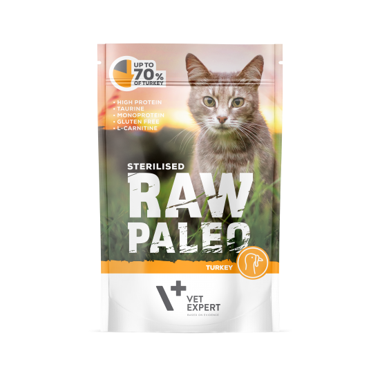 RAW PALEO CAT, STERILISED, vita, 100 g