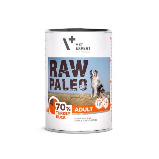 Hrana umeda pentru caini, adult, RAW PALEO, carne de curcan si rata, 400 g