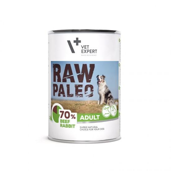 Hrana umeda pentru caini, adult, RAW PALEO, carne de vita si iepure, 400 g