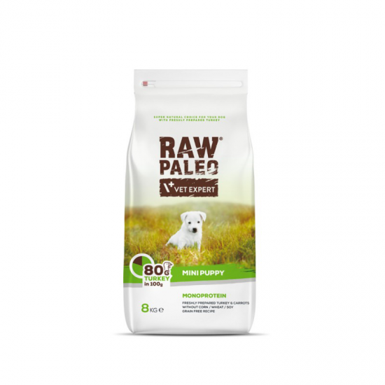 Hrana uscata, RAW PALEO CURCAN, puppy, rase mici, 8 kg