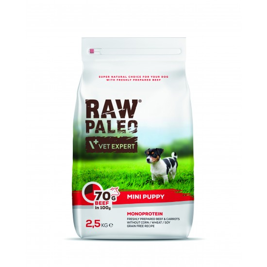 Hrana uscata, RAW PALEO VITA, puppy, rase mici, 2.5 kg
