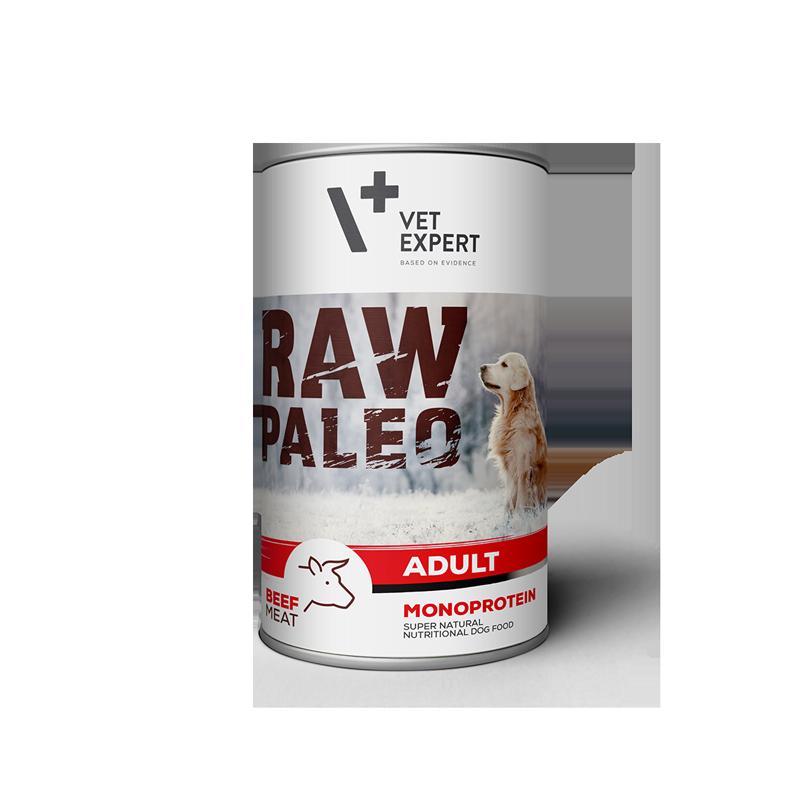 Hrana umeda pentru caini, RAW PALEO, conserva monoproteica, adult, carne de vita, 400 g