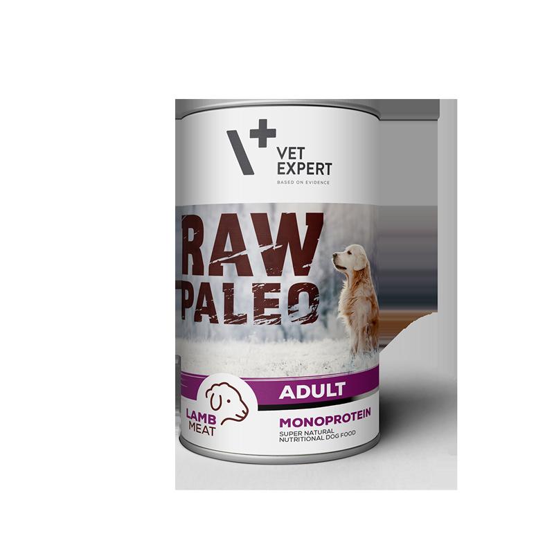 Hrana umeda pentru caini, RAW PALEO, conserva monoproteica, adult, carne de miel, 400 g 4pet.ro
