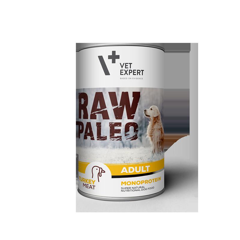 Hrana umeda pentru caini, RAW PALEO, adult, carne de curcan, conserva monoproteica, 400 g