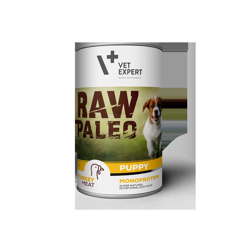 Hrana umeda pentru caini, RAW PALEO Puppy, conserva monoproteica, carne de curcan, 400 g